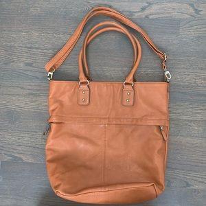 Large Merona faux leather tan tote bag